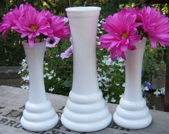 Trio of Milk Glass Bud Vases in Matching Beehive Style - Wedding Centerpieces - Oak Hill Vintage