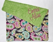 PERSONALIZED Baby Girl Stroller Blanket Paisley with Jade Green Minky