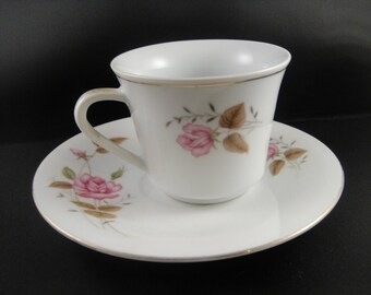 Pink Rose Design Cup and Saucer White China Gold Trim Made in China