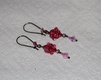 Earring crystal,  Earrings, pink earrings.pink earring, hot pink earrings,fuchsia earrings,rose earrings, pearl earrings