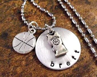 Basketball Necklace, Basketball Jewelry, Personalized Jewelry, Personalized Basketball Jersey Necklace, Sports Jewelry, I Love Basketball