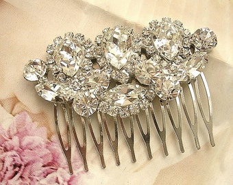 Bridal headpiece, wedding Rhinestone Hair Comb,  Bridal Hair Comb , vintage style wedding hair accessories, sparkle