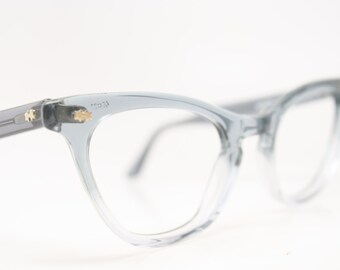 Vintage Gray Fade Cat Eye Glasses Frames New Old Stock