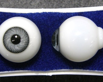 24 mm Grey Glass Karl Paperweight Doll Eyes with a Threaded Iris- One Pair