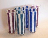 ON SALE 6 AWESOME vintage Italian midCentury Tall Drink Tumblers in colorful Harlequin stripes Eames era 1950s 1960s