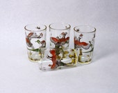 set of 4 midCentury VINTAGE Pheasant Hunter and Dog Juice Glasses or Tumblers COLORFUL for Cabin or Hunting Lodge Decor