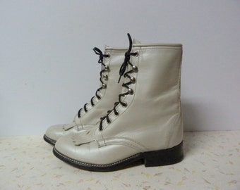 Vintage Laredo White Leather Roper Boots Steampunk Lacers Vintage Ladies Boots Pearly White Size 5.5