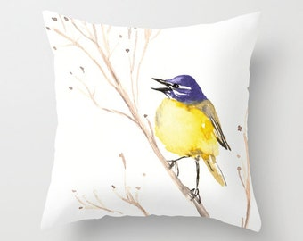 Decorative Pillow Cover - Wagtail Bird Floral - Throw Pillow Cushion - Fine Art Home Decor