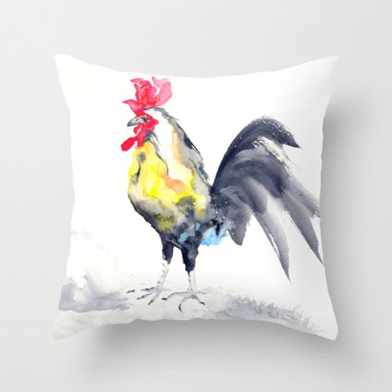 Decorative Pillow Cover - Rooster Cockrel Bird Art - Throw Pillow Cushion - Fine Art Home Decor