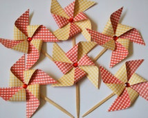 Pinwheel Cupcake Toppers - Picnic Party, BBQ, Wizard of Oz