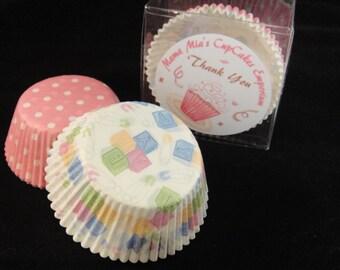 Pink Polka Dots and Baby Print Cupcake Liners