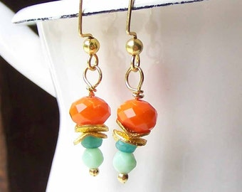 Colorful Earrings, Glass and Jade Beaded Earrings, Orange, Blue and Mint Green Beaded Earrings, Gold Plated, Beaded Earrings