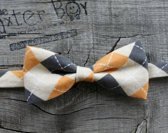 Gold, Black and Cream Argyle little boy bow tie - photo prop, wedding, ring bearer, accessory