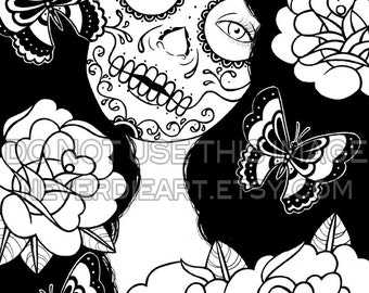 Digital Download Print Your Own Coloring Book Outline Page - Memento - Day of the Dead Sugar Skull Girl Tattoo Flash