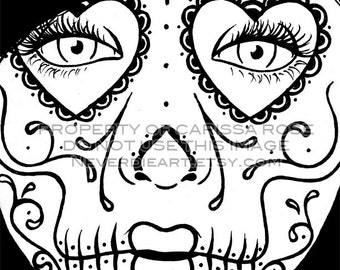 digital download print your own coloring book outline page day of the dead sugar skull - Print Your Own Coloring Book
