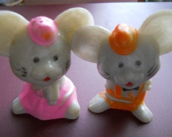 Plastic Mice Salt and Pepper Shakers - Vintage, Collectible