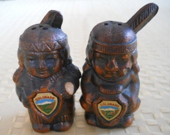 American Indian Salt and Pepper Shakers - Vintage, Collectible, Souvenir