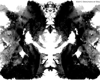"Mask  8"" x 10"" Inkblot From ""Rorschach Unshackled"" Series"
