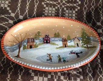 Oval Redware Platter, approx. 7.5 X 11.5 Inches