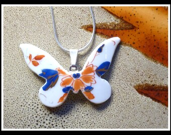 IMARI BUTTERFLY - Recycled Broken Vintage CHINA Cup Necklace