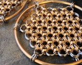 Honeycomb Hoops - Earrings for Stretched Lobes - Chainmaille - Gauges