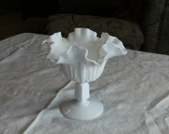 Vintage Ruffled Milk Glass Pedestal Dish