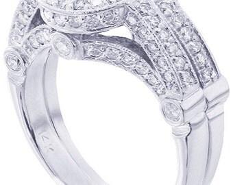 14k white gold round cut diamond engagement ring and band bezel set 2.00ctw