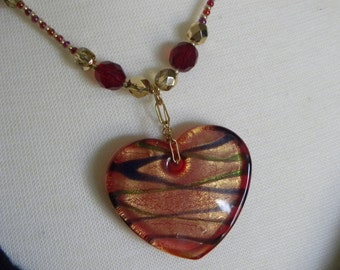 Red Heart Necklace, Heart Necklace