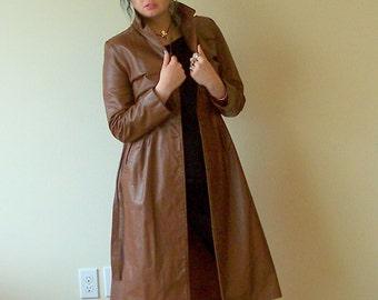 80s Cocolate Spy Leather Trench Coat/Midi Leather Jacket S