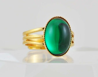 Glass Cocktail Ring on a Gold Plated Adjustable Band, Emerald Green Everyday Fashion Ring, May Birthstone Jewelry, Size 6, 7, 8 and 9
