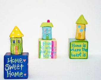 Clay house Hand Painted Block Sculpture Art New Home, Housewarming Gift