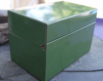 Retro Vintage Army Green Metal File Tin Receipe Storage Box Industrial Gift Dad Retro Salvage Office