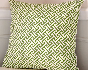 Green Pillow Cover, Green Geometric Throw Pillow, Green and White Pillow, 18x18 Throw Pillow, Green Cushion Cover