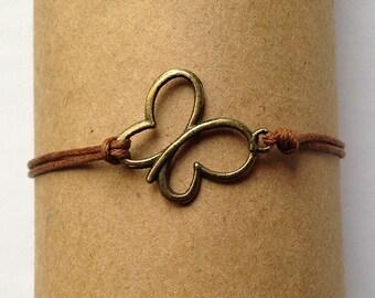 Delicate Bracelet, Thin Bracelet, Antique Bronze Butterfly Charm Bracelet, Cute Bracelet