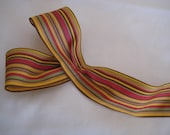 "Harvest Stripe Ribbon. Red/Yellow/Green/Brown 1.5""/ 4 cm wide. Sold by the metre"
