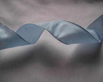 """Baby Blue Wired Taffeta Ribbon. 1.5""""/ 4 cm wide. Sold by the metre"""