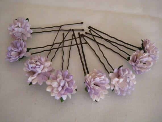 Ivory/Lilac Daisy Hairpins x 8. Wedding, Bridal, Regency, Victorian