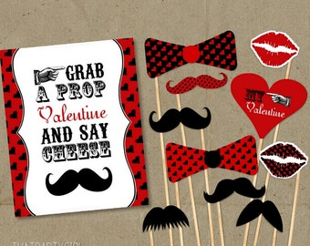 Valentines Day Mustache Bash Party Photo Booth Props-  DIY INSTANT DOWNLOAD