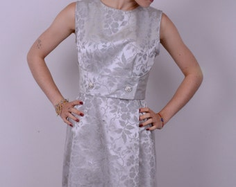 60's Silver Brocade Luxed Up Glam Party Dress