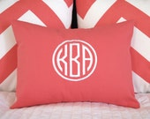 Monogrammed Pillow Cover - Circle Monogram 12 x 16 - Personalized Gift  Baby Wedding Dorm Decor Housewarming Gift