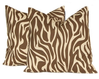 Brown Pillow Cover, Throw Pillow, Decorative Throw Pillow Cover One for All Sizes Brown on Linen Zebra Animal Print Pillow Cover