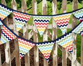 Eco-Friendly Reusable Fabric Bunting, Banner, Pennant, Flag, Garland, Photo Prop, Decoration in Rainbow Chevron
