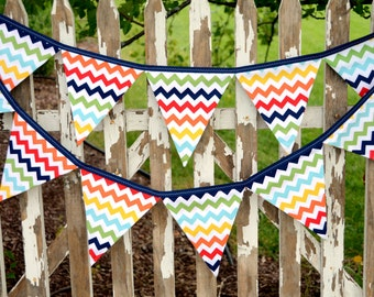 READY to SHIP! Reusable Fabric Bunting, Banner, Pennant, Flag, Garland, Photo Prop, Decoration in Rainbow Chevron