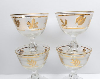 Vintage   Libby Frosted Gold Leaf Sherbet Glasses