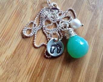 Midwife or doula gift- baby feet with turquoise Briolette - Rawkette