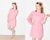 Beautiful 1960s Bubble Gum Pink Baby Doll Dress with Shiny Sheer Organza Sleeves and a Beaded Neck and Waistline. S/M
