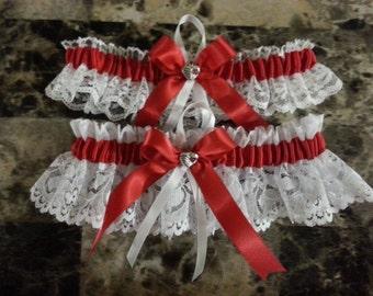 red satin ribbon and white lace wedding garter set