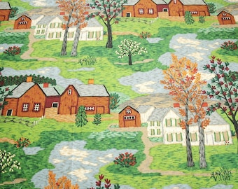 "Grandma Moses ""Mt Nebo on the Hill"" Vintage Barkcloth, Unused and Mint Condition - 48 by 33 Inches"