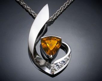 citrine necklace, November birthstone, citrine pendant, white sapphires, Argentium silver, statement necklace, contemporary - 3466