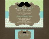 Little Man Chevron Baby Shower Printable Invitation and Insert Card - Digital File